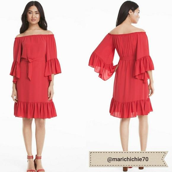9e21ad6282 NWT White House Black Market Flounce Dress